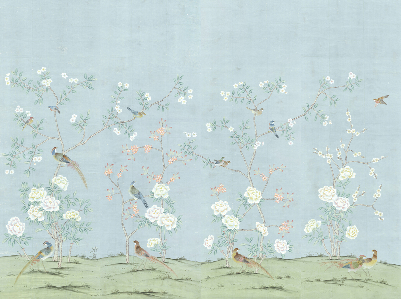 Chinoiserie wallpapers hand painted elegant for Chinese wallpaper mural